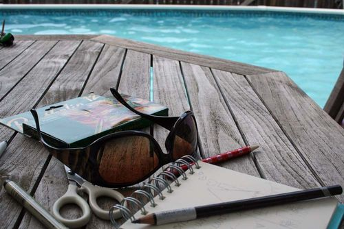 Pool deck art journaling